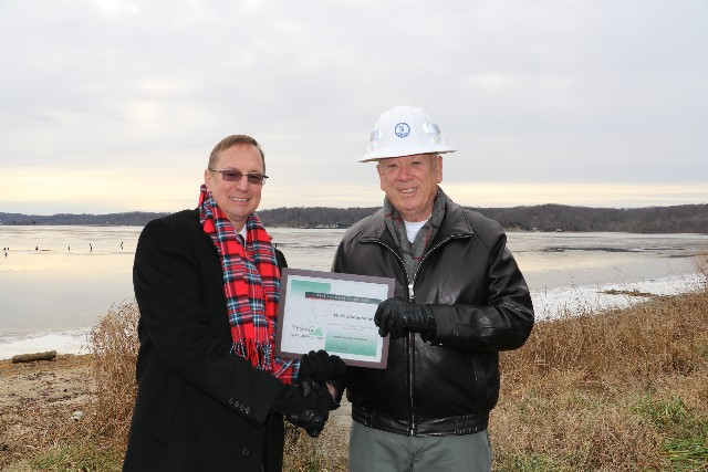 Posing with Legislator of the Year Award in front of the Potomac River at the future Widewater State Park